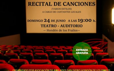 RECITAL DE CANCIONES  – DOMINGO 24 JUNIO A LAS 19.00H – TEATRO AUDITORIO